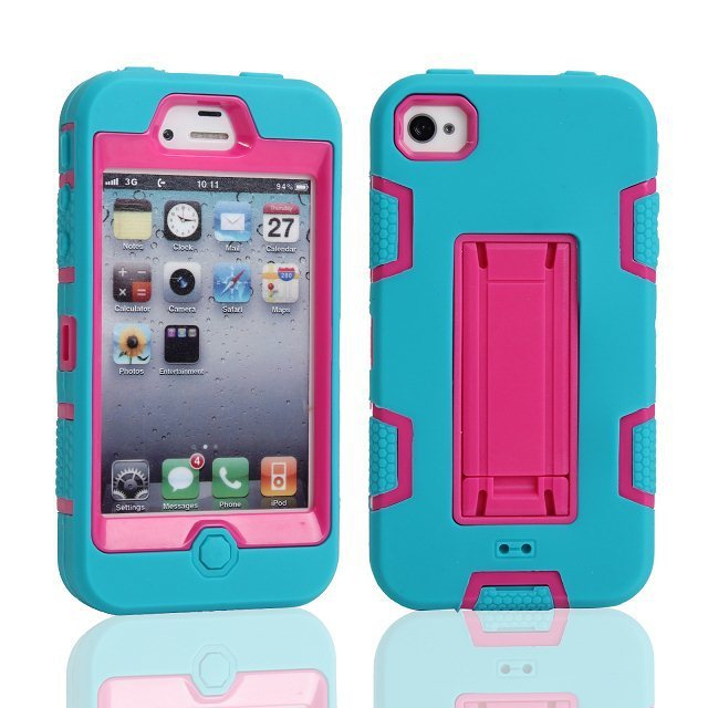 Apple iPhone 4 4S 3 1 Hybrid Rugged Anti-knock Silicon+ PC Impact Protective Combo Case Cover Stand+Screen Protector - Shenzhen GenaTX Technology Co., LTD store