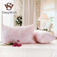 BeddingOutlet Pillow Elegant Floral Printed Soft Neck Down Alternative Pillow on The Bed Pink Gray and Blue 48cmx74cm Bedclothes(China (Mainland))