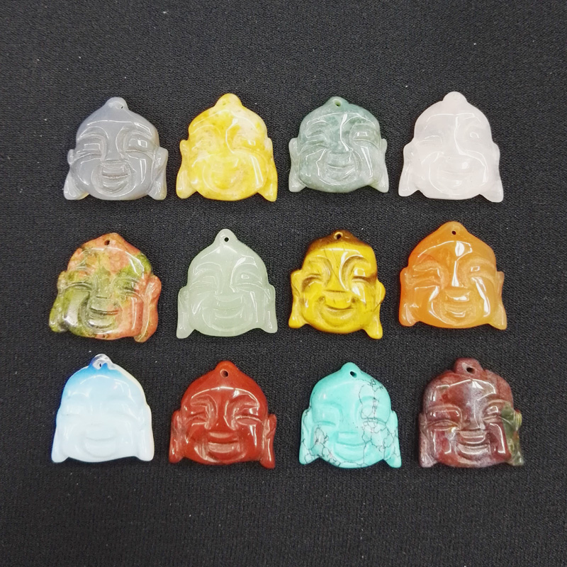 stone Maitreya Buddha Head carved charm natural stone pendants necklaces for jewelry making mixed pendant 12pcs free(China (Mainland))