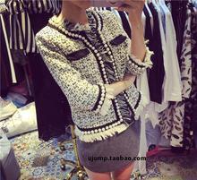2016 spring/summer tweed tassel Jacket designer cc brand women short Slim Woolen pearl Houndstooth Coat luxury runway cc blazer
