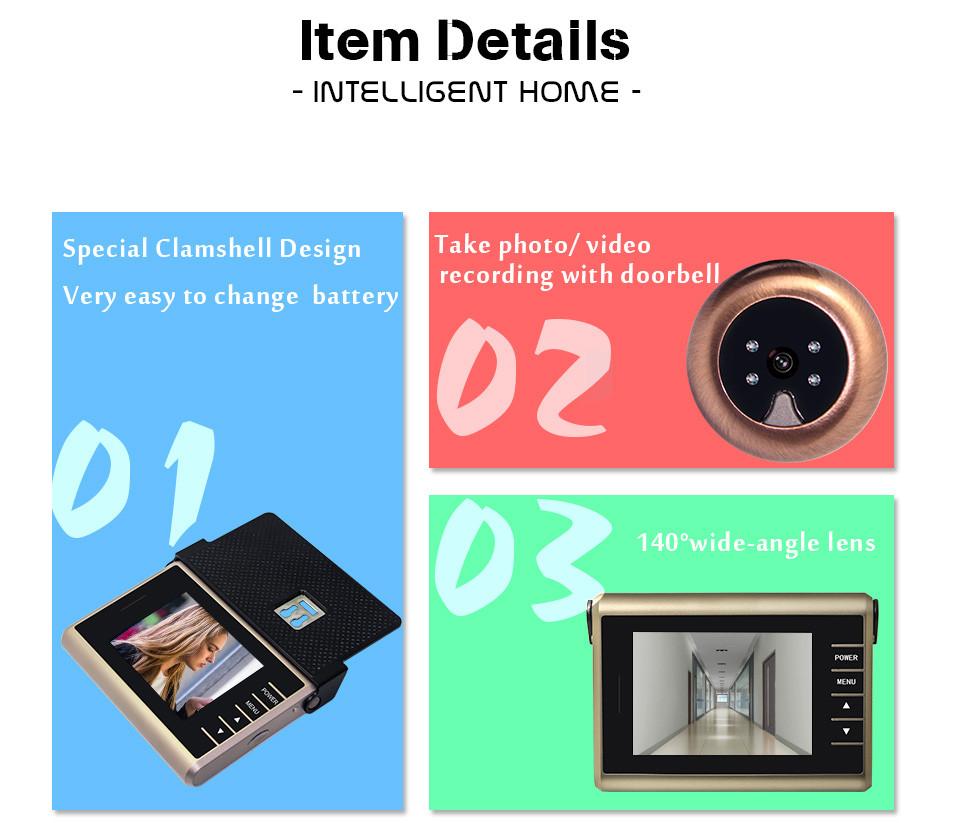 Купить Бесплатная Доставка 3.2 дюймов HD Цветной Экран Записи Видео Беспроводной Дверной Глазок Камеры с 0.3 Мега Пикселей Ночного Видео Дверь Камеры