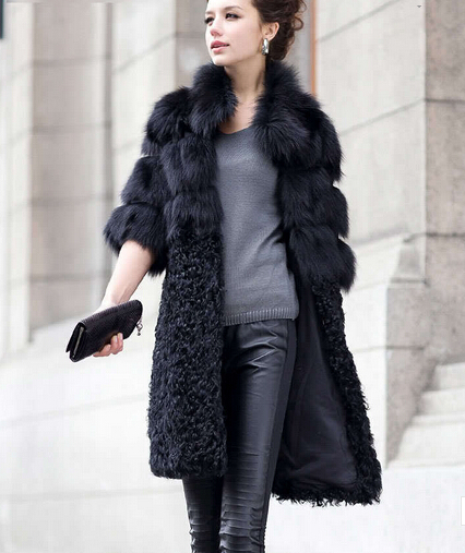 Brand New Natural Fox Fur Coat Women's Lady Winter Long Real Lamb Jackets Genuine Furs Outerwear Customize Plus Size 4XL