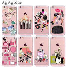 Fashion Makeups Cosmetic Phone Case For iPhone 4 4S 5 5S SE 5C 6 6S 6Plus 6sPlus Transparent Soft Silicone Fundas Coque(China (Mainland))