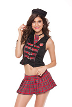Sexy Scotland School Girl Costume Plaid Crop Tops and Skirt Sets Game Uniform Cosplay Halloween Costumes for Women Sexy Lingerie