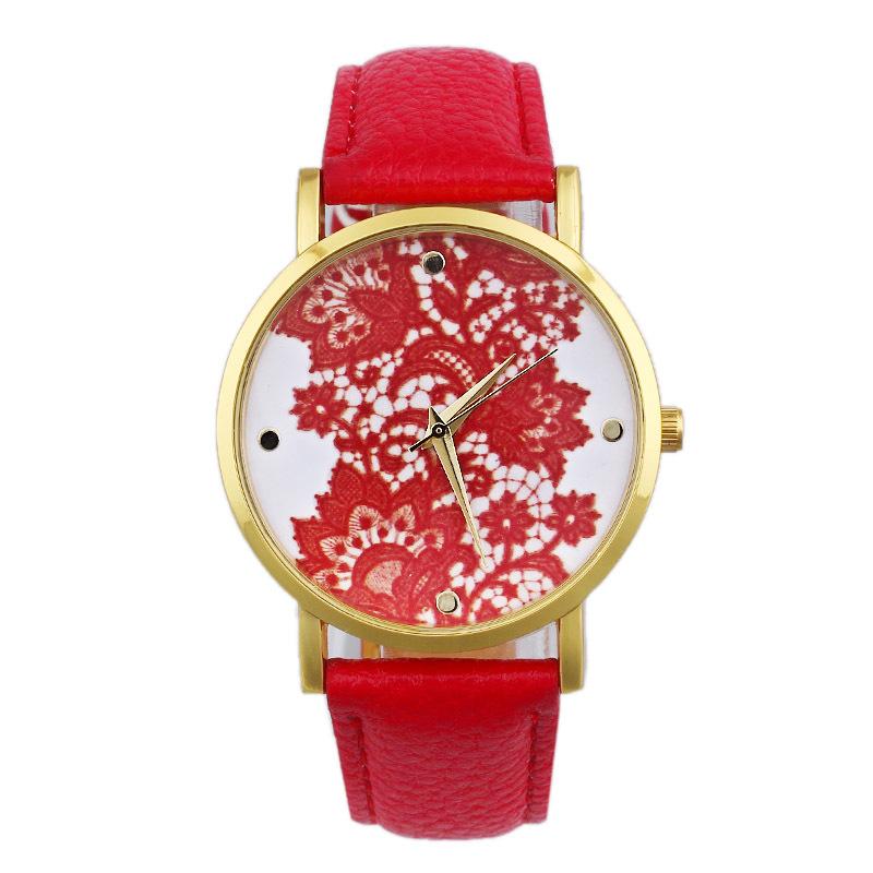 2015 Hot! Watch Women Lace Printed Faux Leather Quartz Analog Dress Wristwatch Vintage Casual Relojes 7 Colors - Rainbow International Trade Co.,LTD store