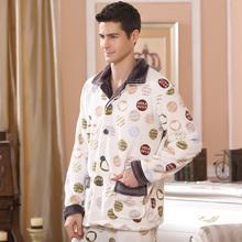 2016 Modern Fashion Men Winter Keep Thermal Anti Cold Coral Fleece Pajamas sets of Sleepcoat & Pants Adult Casual Home Sleepwear(China (Mainland))