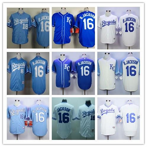 ホット·ロイヤルズ#16ボー·ジャクソンジャージ、メンズboジャクソンジャージ先祖返り野球、ジャクソンステッチ野球ジャージ(China (Mainland))