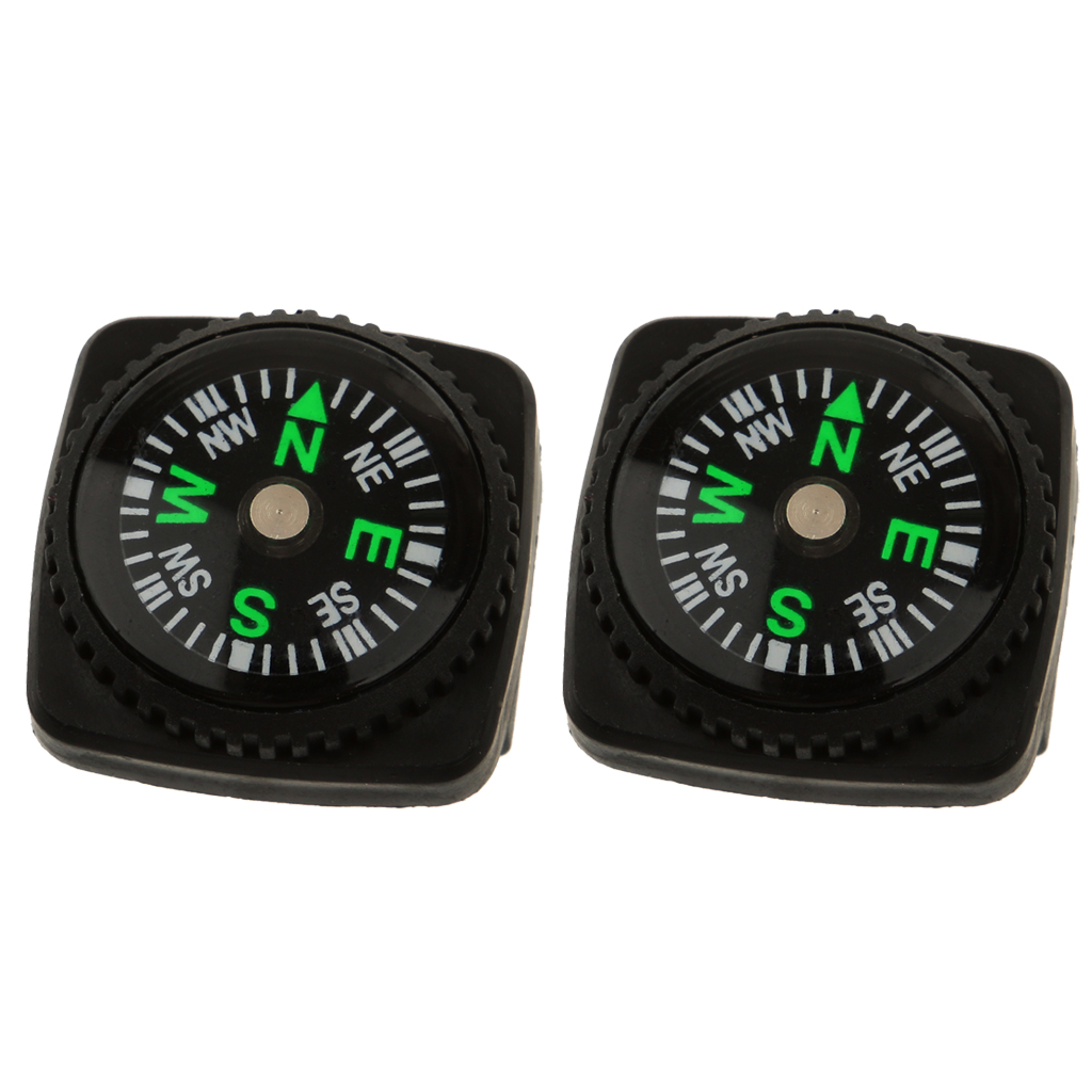 2Pcs/Pack Slip-on Compass Set for Watchband or Paracord Bracelets for Camping Hiking Boating Kayaking Canoeing Accessories