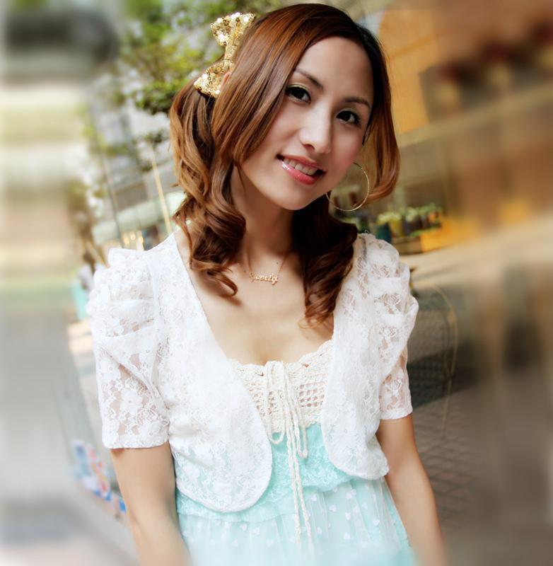 2013 spring and summer female rose bow short-sleeve lace shrug cardigan short jacket cardigan(China (Mainland))