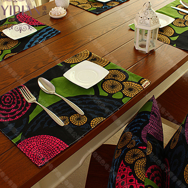 4pcs cotton Placemat fashion dining table mat disc pads bowl pad coasters table cloth pad slip-resistant placemats 32*45cm(China (Mainland))