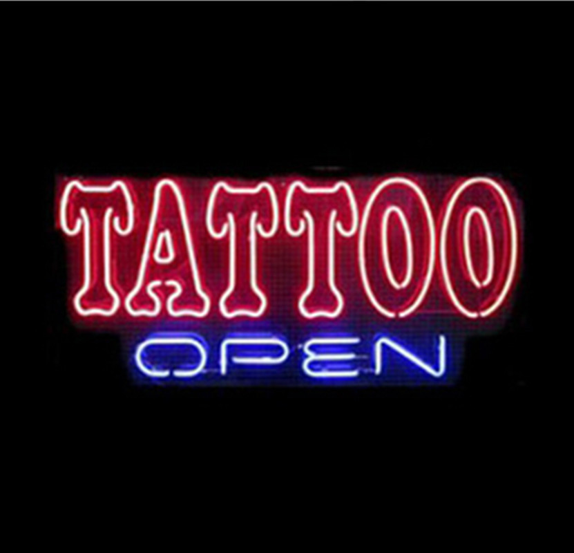 "17""x14"" TATTOO OPEN NEON SIGNS REAL GLASS BEER BAR PUB LIGHT BILLIARDS STORE DISPLAY RESTAURANT SHOP DEALERS GARAGE(China (Mainland))"