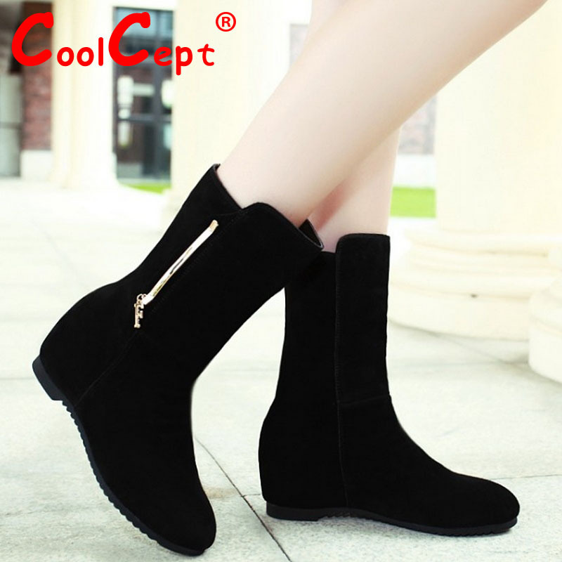 ladies real genuine leather flat half short ankle boots women autumn winter botas footwear warm boot shoes R7769 size 33-40<br><br>Aliexpress