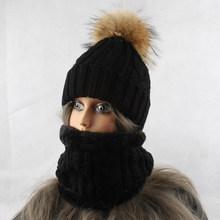 2019 Womens Hoeden Met Sjaal Warme Fleece Beanie Meisjes Winter Cap Voor Vrouwen Real Mink Fur Pompom Hoed Vrouwelijke gebreide Caps(China)