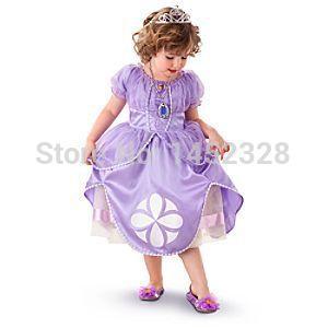 2014 Sofia girls dress princess dress childrens wear purple party dress children clothes kids clothes<br><br>Aliexpress