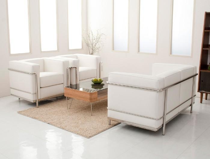 U-BEST high quality White leather Le Corbusier LC2 sofa sectional sofa set,1+1+2 seater sofa set(China (Mainland))