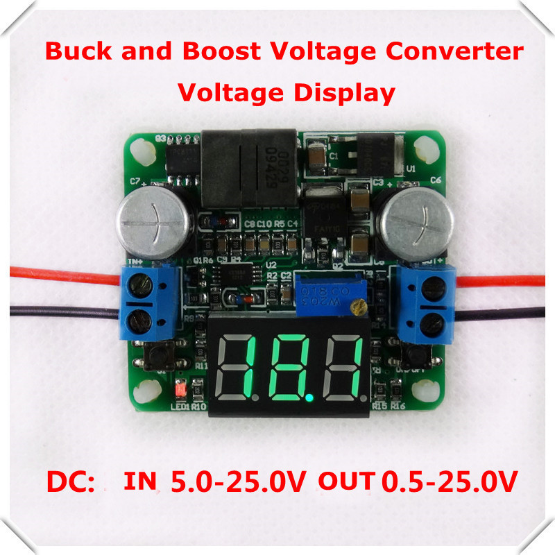 Green Voltage display boost and buck converter DC-DC Adjustable Step up/down Power Supply Module LM2596&LM2577 5-25V [ 4pcs/lot](China (Mainland))