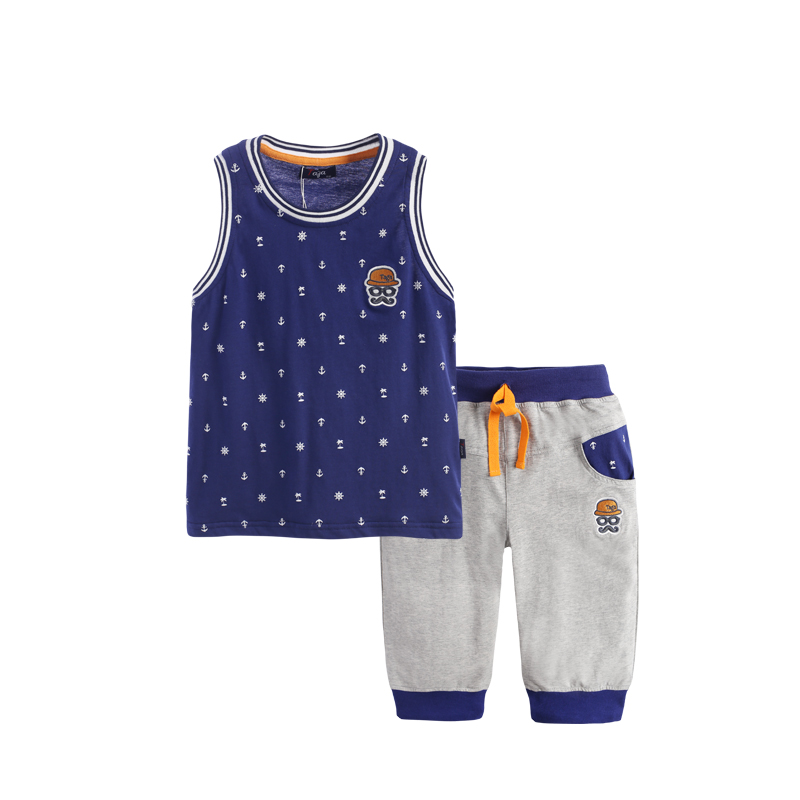 Фотография 2016 New Fashion Kids Clothes Boys Summer Set Print Vest + Short Pants Baby Boy Clothing Set Toddler Boy Summer Clothes Set