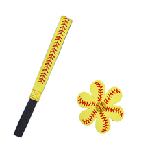 Softball Baseball Leather Headband Leather Hair Flower Set of 2 pieces(China (Mainland))