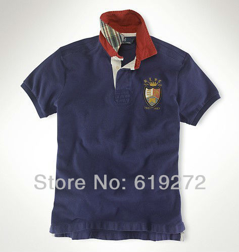 Free Shipping 2014 summer men's POLO Shirt High quality brand cotton Short sleeve Collar Casual men polo Shirt Navy blue(China (Mainland))