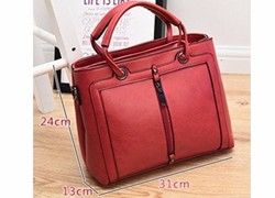 Casual Large Bag 2016 New Women Occident Style Elegant Handbag Front Zipper Ornament Ladies Luxury Retro PU Shoulder Bag