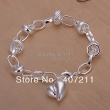 Wholesale 925 Sterling Silver Bracelet, peach heart silver bracelet,sivler jewelry wholesale.925 silver,Freeshipping(China (Mainland))