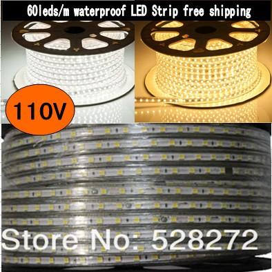 110V120V led strip 5050 1m2m3m4m5m10m15m20m30m50m flexible waterproof light strip,60LED/m,warm white/white LED Lighting(China (Mainland))