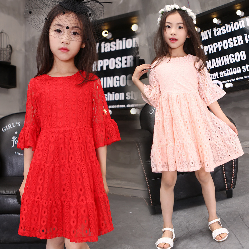 Kids Dresses For Girls Good Quality Children Clothing Spring 2016 Solid Lace Girls Party Princess Dresses O-Neck Kids Clothes(China (Mainland))