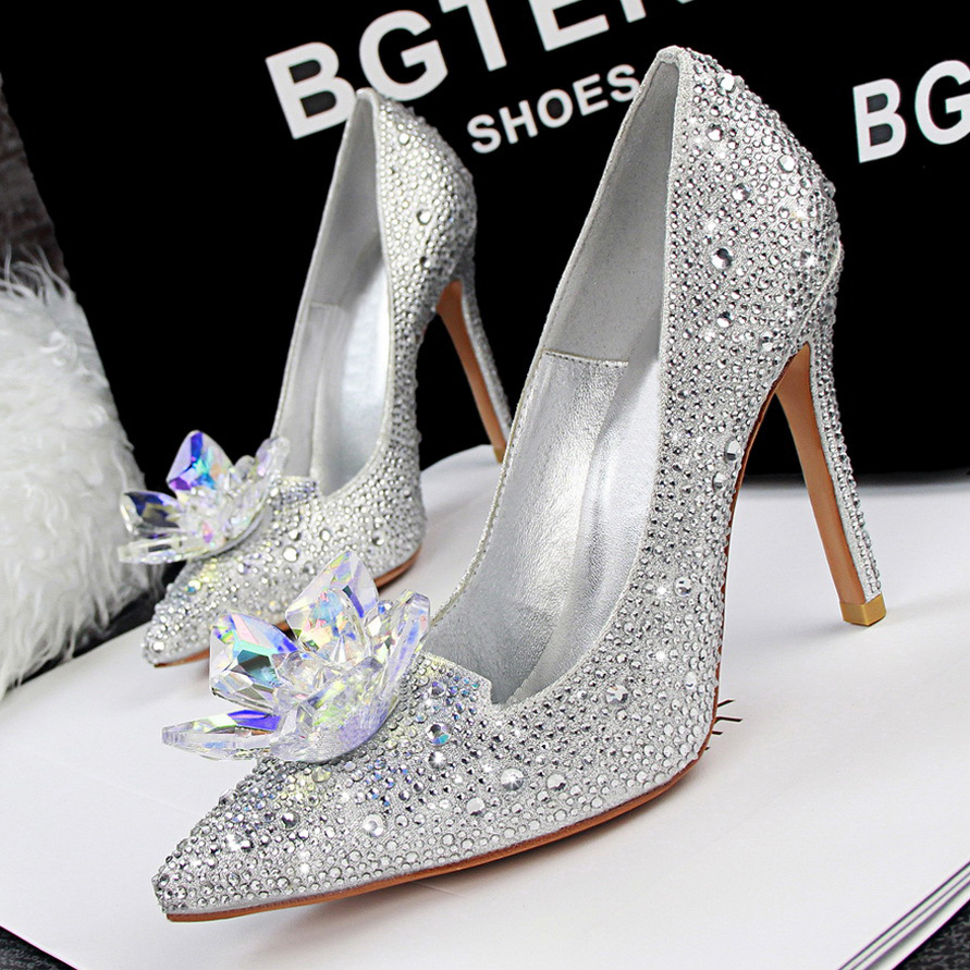 Silver Crystal High Heels