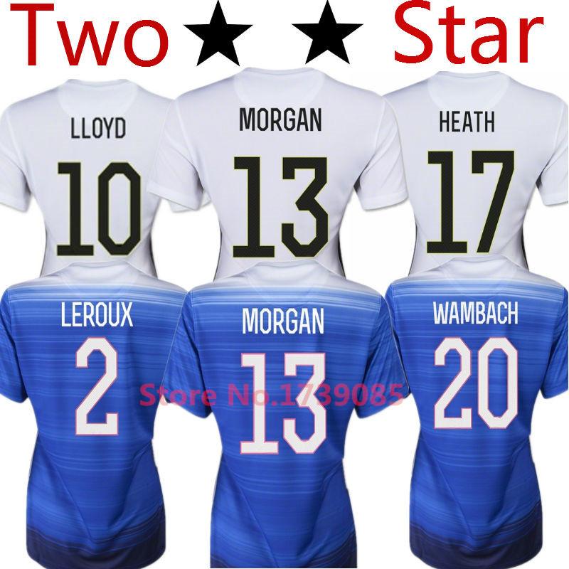 Soccer Jersey USA Women Jersey 2015 MORGAN Lady 15/16 USA Women Girl LLOYD WAMBACH Female Shirt Away Blue Home White 2 Stars Two(China (Mainland))