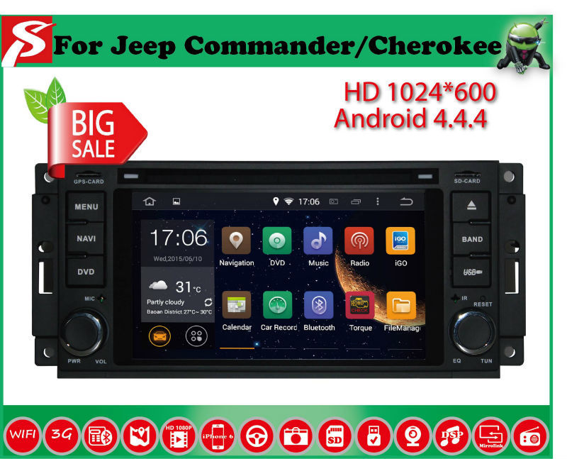 Здесь можно купить  Quad Core 1.6GHZ! Two Din 6.2 Inch Android 4.4.4 Car DVD Player For JEEP With Wifi 3G USB GPS BT TV Radio RDS Free Map  Автомобили и Мотоциклы