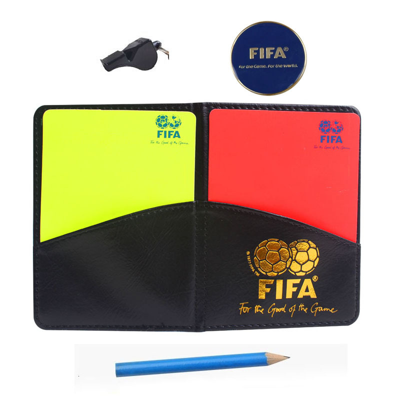 Fair Play Football Referee whistle sound Soccer referee cards wallet set with pencil metal coin whistle referee equipment(China (Mainland))