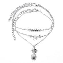 QCOOLJLY lato Boho kamień Anklet dla kobiety łańcuszek na kostkę moda złoty kolor wielowarstwowy bransoletki bransoletka Charm Foot biżuteria prezent(China)