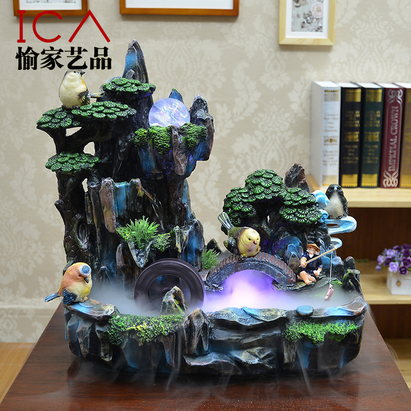 ica feng shui wheel lucky decoration rockery water fountain fish tank bonsai indoor humidifier cute