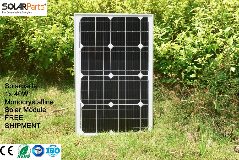 Фотография Solarparts 1x 40W Monocrystalline Solar Module by Mono solar cell factory cheap selling 12V solar panel for RV/Marine/Boat use