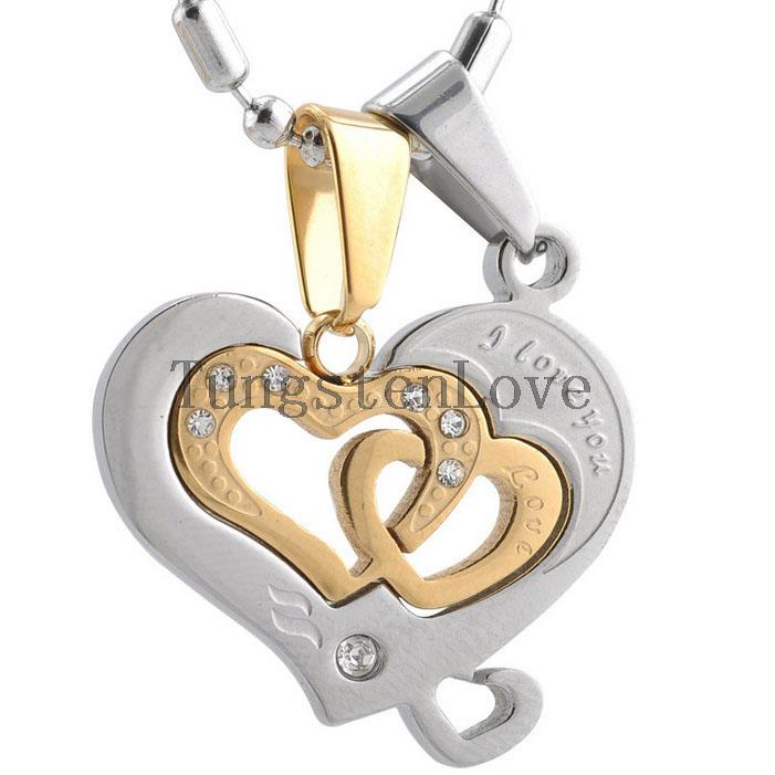 "Fashion Couple Jewelry Stainless Steel ""I Love You"" Engraved Heart Pendant Necklace Set for Couple Gold Silver Tone(China (Mainland))"