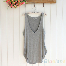 Women's Summer Trendy Loose Sleeveless V-Neck Vest Tank Tops Tee Shirt 5 Colors  1CY2(China (Mainland))