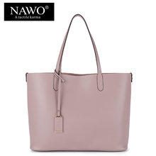 NAWO Red Casual Women Tote Bags Large Capacity Leather Handbags New Fashion Famous Designer Brand Ladies shoulder Shopping Bags(China (Mainland))