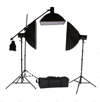 Photo Studio Lighting Triple Top Light 125W*3 Light Bulb 50*70cm Softbox Kit With Three Piece of Background(China (Mainland))