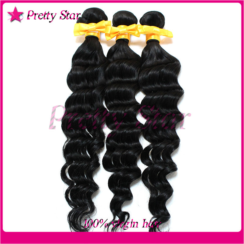Cheap 6A Unprocessed Brazilian Virgin Hair Weaves Deep Wave Natural Black Color Human Extensions Curly 8-30 Inch - pretty star store