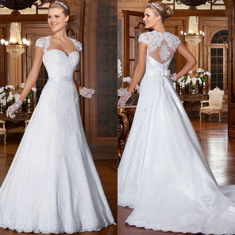 Vestido de noiva 2015 vintage lace cap sleeves sweetheart for Lace sweetheart wedding dress cap sleeves