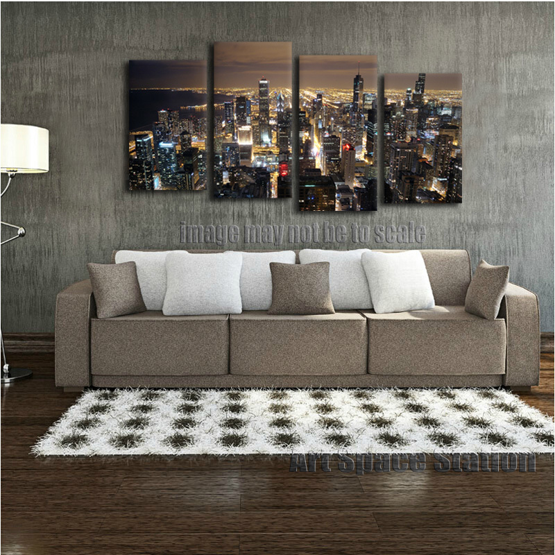 Http Www Aliexpress Com Item Chicago Skyline Giant Wall Art Home Decor Hd Canvas Print Chicago City Night Panorama From John 2053954542 Html
