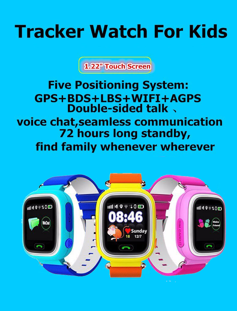 2016 Q90 Touch Screen GPS WIFI Positioning Baby Smart Watch Children S