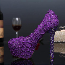 Fashion 2016 Purple Lace Flower Wedding Shoes Evening Party High Heels Women Genuine Leather Pumps Bridal Shoes Plus Size 43(China (Mainland))