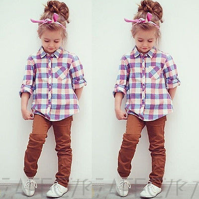 2016 Girls Checked Shirts Baby Kids Tops Long Sleeve Blouse Girls Clothing 2-7Y