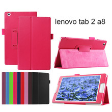 Leather cover case for lenovo tab2 A8 PU leather stand protective skin,tablet cover case for lenovo tab 2 A8-50 +film+pen