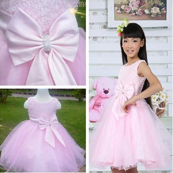 2014 New summer baby girl princess vest dress pink bow rose party cute girls tutu children dresses