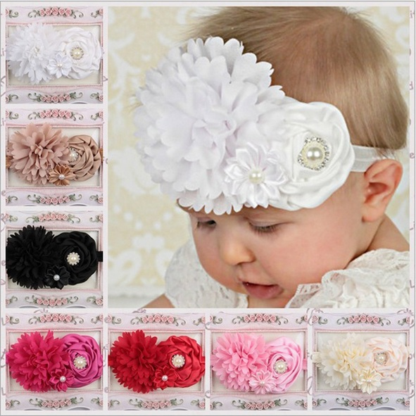 Hot sale baby beautiful headbands Toddler floral diamante hair accessories Infant shabyy chiffon peony flower band 1pc HB377(China (Mainland))