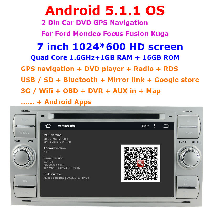 2 din Android 5.1.1 Quad-Core 7 inch car dvd player gps for Ford Mondeo Focus 2 Fusion Kuga  Smax Fiesta Galaxy car stereo radio