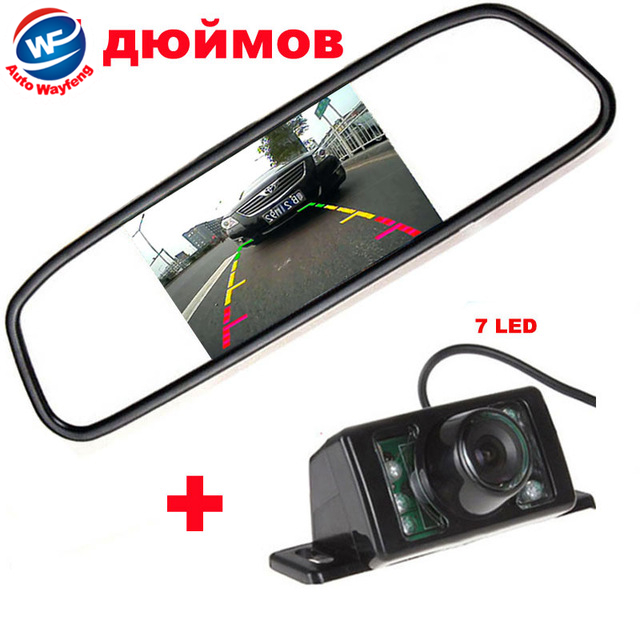 "Auto Parking HD CCD 7LED Car Rearview Camera+5"" TFT LCD Mirror Monitor For Reversing Backup 170 Lens Angle Parking Camera(China (Mainland))"