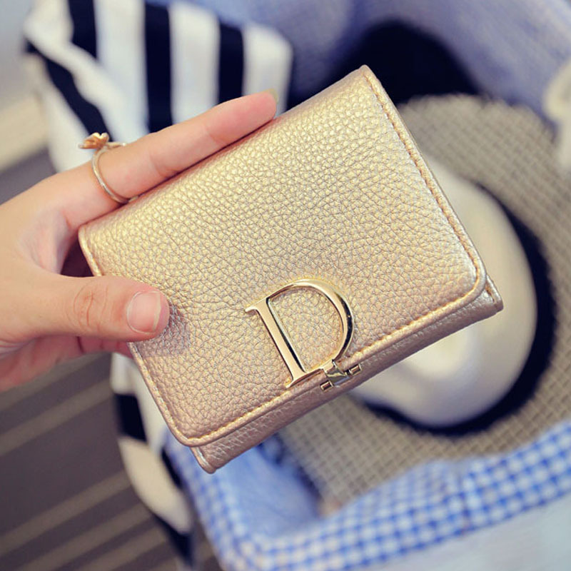 Women Small Wallet 4 Colors Luxury Golden Womens Wallets Letter Desigual Wallet Ladies Short Coin Purses 2015 Christmas Gift(China (Mainland))